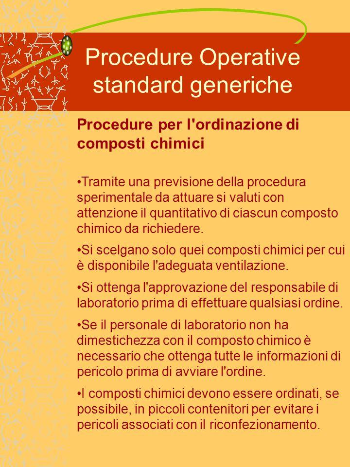 Procedure Operative standard generiche Procedure per l ordinazione di composti chimici Tramite una previsione della procedura sperimentale da attuare si valuti con attenzione il quantitativo di ciascun composto chimico da richiedere.