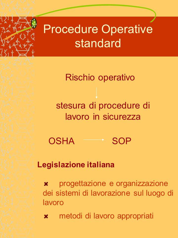Procedure Operative standard generiche Procedure per l uso di prodotti chimici corrosivi Indossare guanti di gomma e occhiali di protezione.