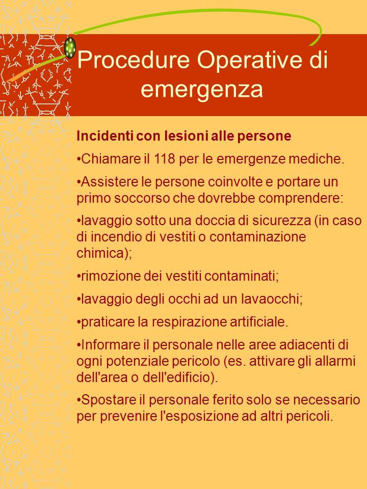 Procedure Operative di emergenza Incidenti con lesioni alle persone Chiamare il 118 per le emergenze mediche.