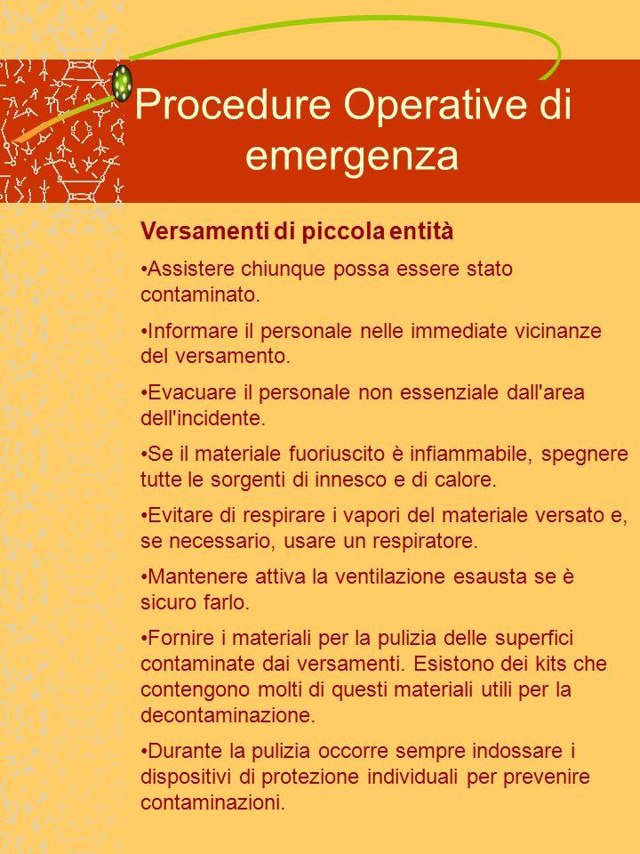 Procedure Operative di emergenza Versamenti di piccola entità Assistere chiunque possa essere stato contaminato.