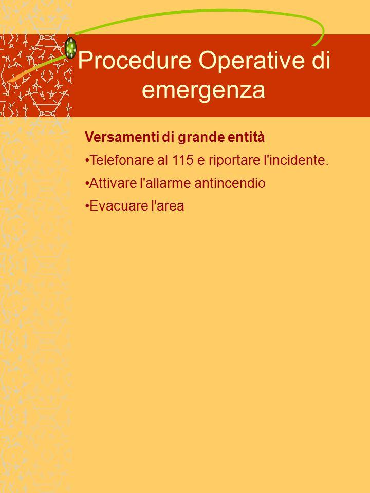 Procedure Operative di emergenza Versamenti di grande entità Telefonare al 115 e riportare l incidente.