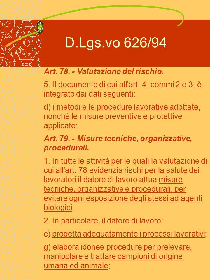D.Lgs.vo 626/94 Art.79. - Misure tecniche, organizzative, procedurali.