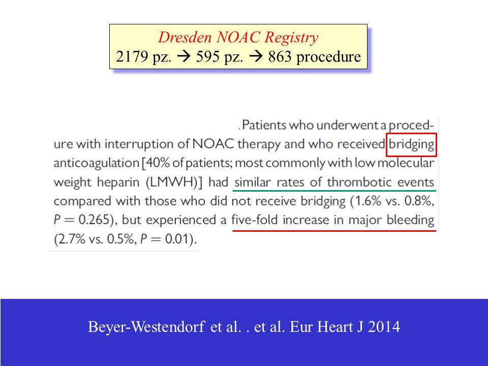 Beyer-Westendorf et al.. et al. Eur Heart J 2014 Dresden NOAC Registry 2179 pz.  595 pz.  863 procedure Dresden NOAC Registry 2179 pz.  595 pz.  8