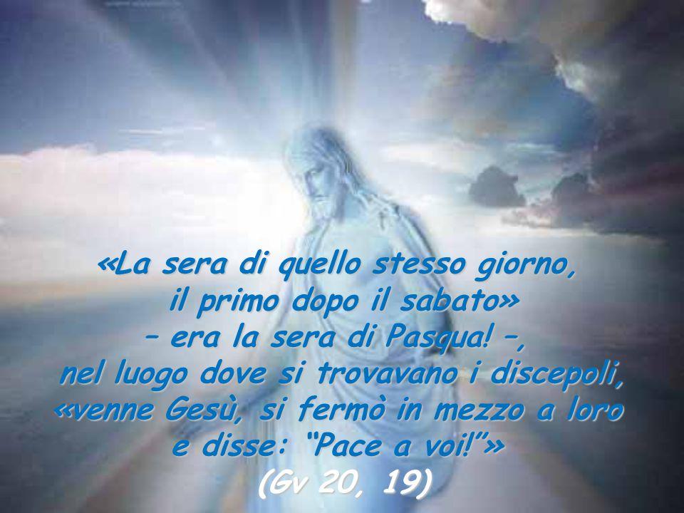 «La sera di quello stesso giorno, il primo dopo il sabato» – era la sera di Pasqua! –, nel luogo dove si trovavano i discepoli, «venne Gesù, si fermò