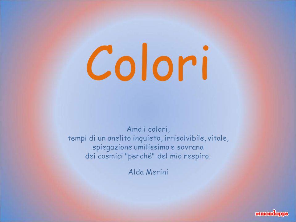 Colori Amo i colori, tempi di un anelito inquieto, irrisolvibile, vitale, spiegazione umilissima e sovrana dei cosmici perché del mio respiro.
