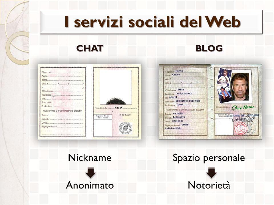 CHAT Nickname AnonimatoBLOG Spazio personale Notorietà I servizi sociali del Web