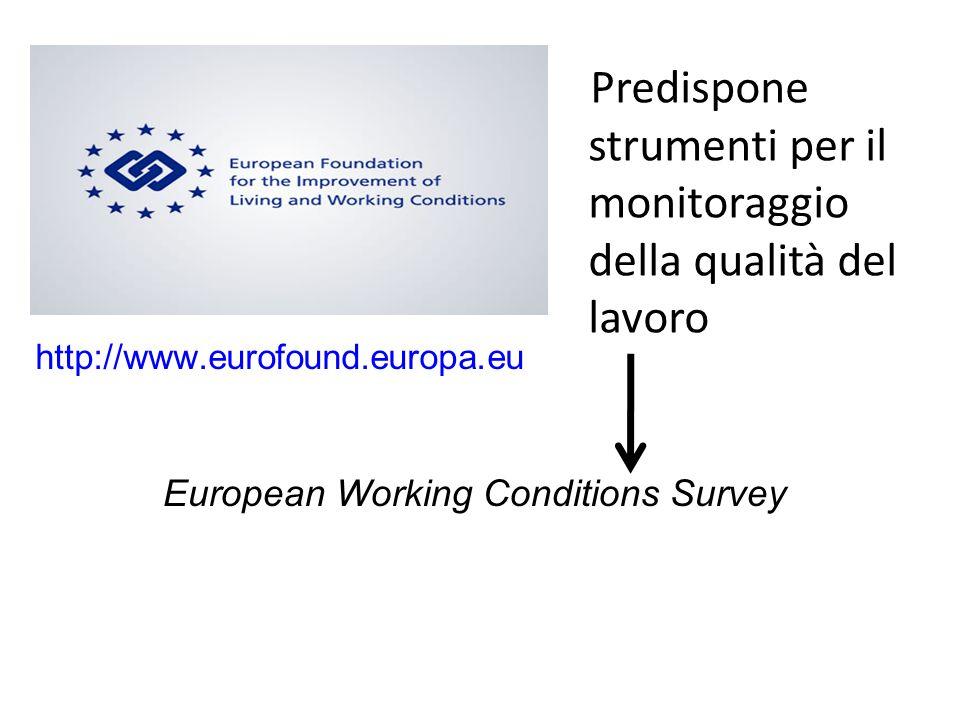 http://www.eurofound.europa.eu European Working Conditions Survey Predispone strumenti per il monitoraggio della qualità del lavoro