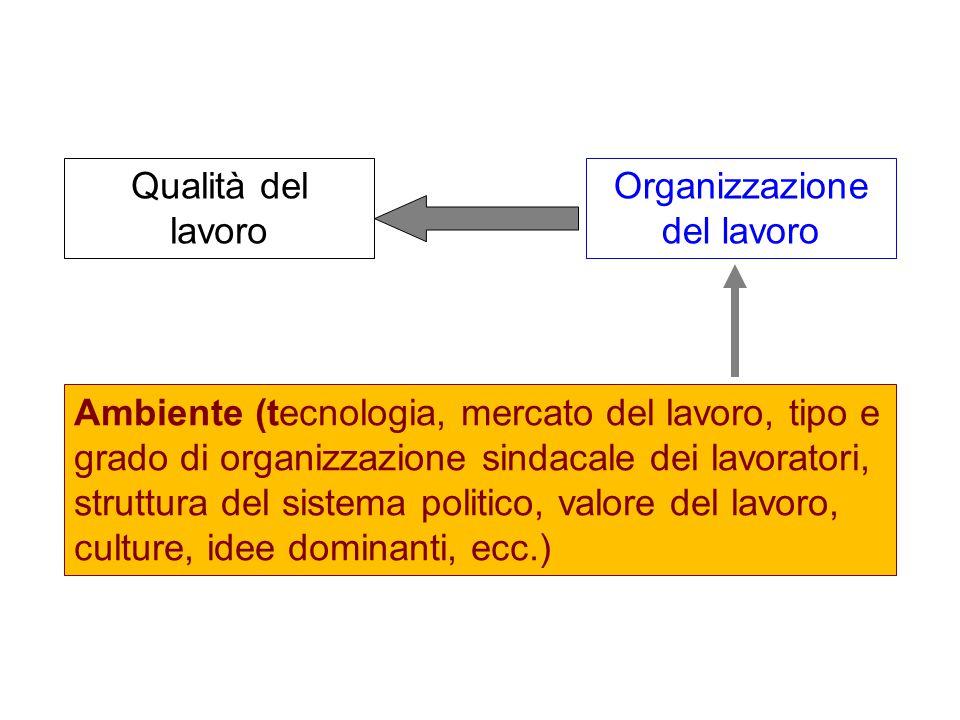 Qualità del lavoro Organizzazione del lavoro Ambiente (tecnologia, mercato del lavoro, tipo e grado di organizzazione sindacale dei lavoratori, struttura del sistema politico, valore del lavoro, culture, idee dominanti, ecc.)