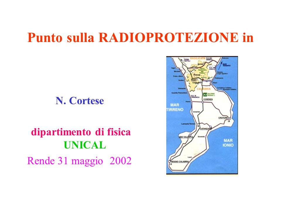 Punto sulla RADIOPROTEZIONE in N. Cortese dipartimento di fisica UNICAL Rende 31 maggio 2002
