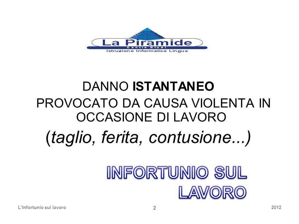 DANNO ISTANTANEO PROVOCATO DA CAUSA VIOLENTA IN OCCASIONE DI LAVORO (taglio, ferita, contusione...) 2012L'Infortunio sul lavoro 2