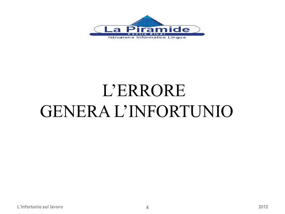 L'ERRORE GENERA L'INFORTUNIO 2012L'Infortunio sul lavoro 4