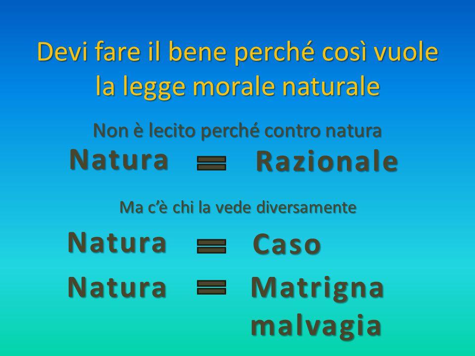 Devi fare il bene perché così vuole la legge morale naturale Non è lecito perché contro natura Natura Razionale Razionale Natura Caso Caso Natura Matr