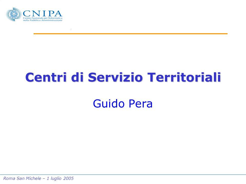 Roma San Michele – 1 luglio 2005 Centri di Servizio Territoriali Guido Pera