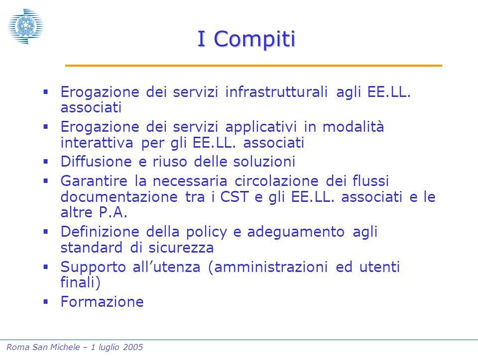 Roma San Michele – 1 luglio 2005 I Compiti  Erogazione dei servizi infrastrutturali agli EE.LL. associati  Erogazione dei servizi applicativi in mod