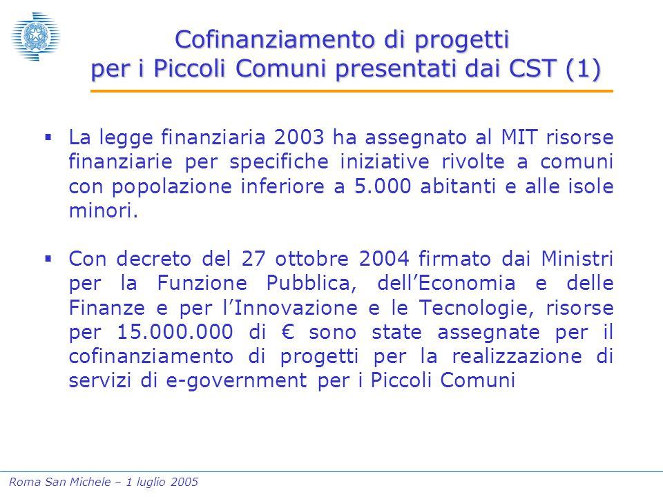 Roma San Michele – 1 luglio 2005 Cofinanziamento di progetti per i Piccoli Comuni presentati dai CST (1)  La legge finanziaria 2003 ha assegnato al MIT risorse finanziarie per specifiche iniziative rivolte a comuni con popolazione inferiore a 5.000 abitanti e alle isole minori.