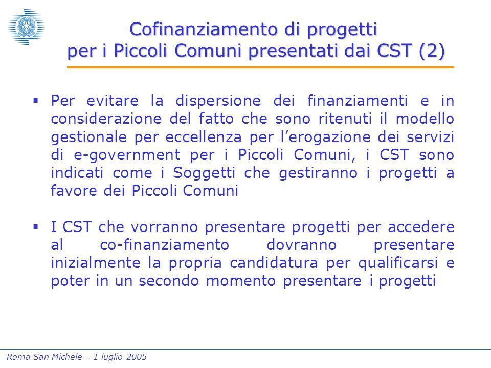 Roma San Michele – 1 luglio 2005 Cofinanziamento di progetti per i Piccoli Comuni presentati dai CST (2)  Per evitare la dispersione dei finanziament