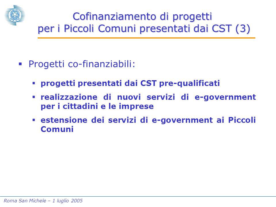 Roma San Michele – 1 luglio 2005 Cofinanziamento di progetti per i Piccoli Comuni presentati dai CST (3)  Progetti co-finanziabili:  progetti presen