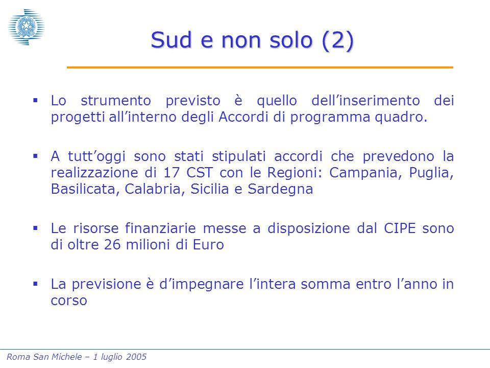 Roma San Michele – 1 luglio 2005 Sud e non solo (2)  Lo strumento previsto è quello dell'inserimento dei progetti all'interno degli Accordi di programma quadro.