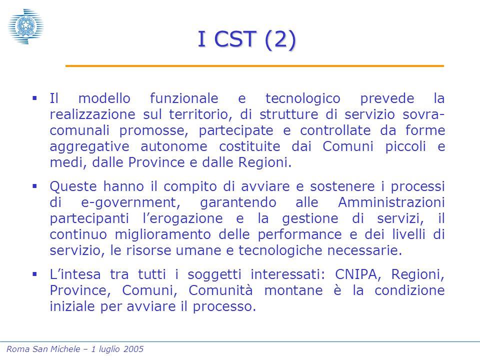 Roma San Michele – 1 luglio 2005 I CST (2)  Il modello funzionale e tecnologico prevede la realizzazione sul territorio, di strutture di servizio sov