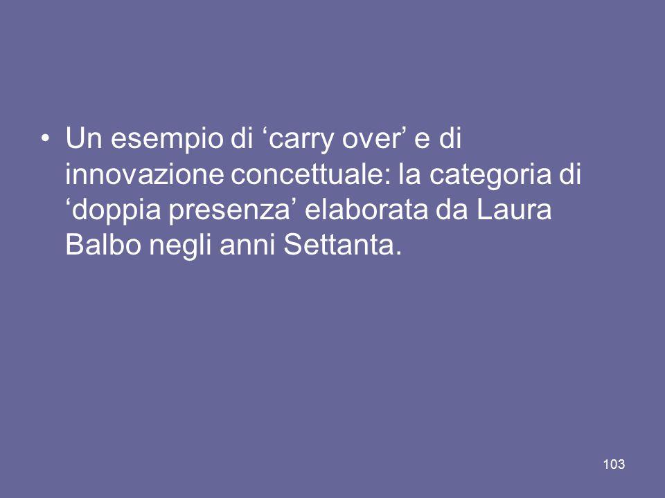 Un esempio di 'carry over' e di innovazione concettuale: la categoria di 'doppia presenza' elaborata da Laura Balbo negli anni Settanta. 103