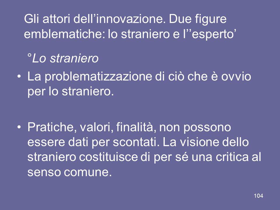 Gli attori dell'innovazione. Due figure emblematiche: lo straniero e l''esperto' °Lo straniero La problematizzazione di ciò che è ovvio per lo stranie
