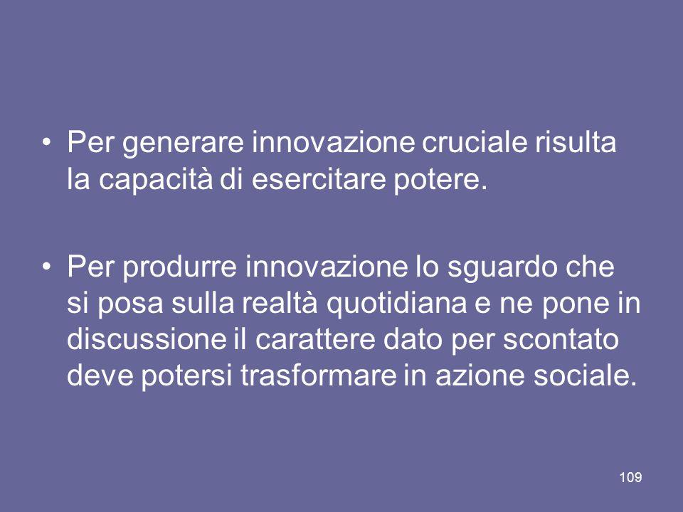 Per generare innovazione cruciale risulta la capacità di esercitare potere. Per produrre innovazione lo sguardo che si posa sulla realtà quotidiana e