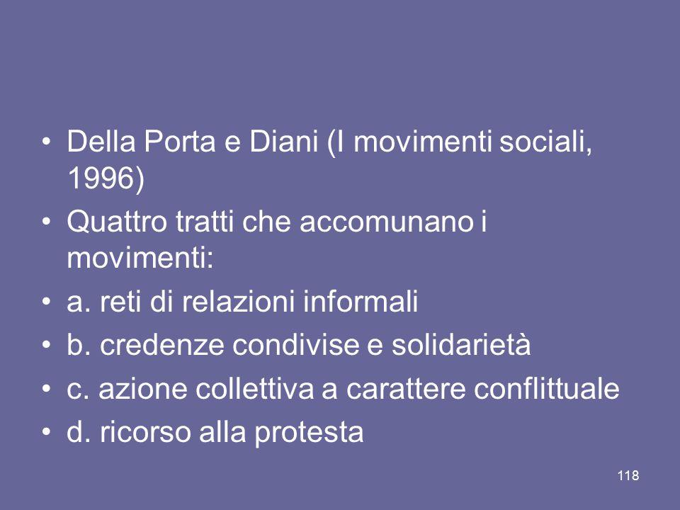Della Porta e Diani (I movimenti sociali, 1996) Quattro tratti che accomunano i movimenti: a. reti di relazioni informali b. credenze condivise e soli