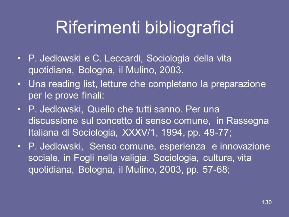 Riferimenti bibliografici P. Jedlowski e C. Leccardi, Sociologia della vita quotidiana, Bologna, il Mulino, 2003. Una reading list, letture che comple
