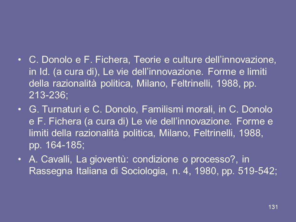 C. Donolo e F. Fichera, Teorie e culture dell'innovazione, in Id. (a cura di), Le vie dell'innovazione. Forme e limiti della razionalità politica, Mil