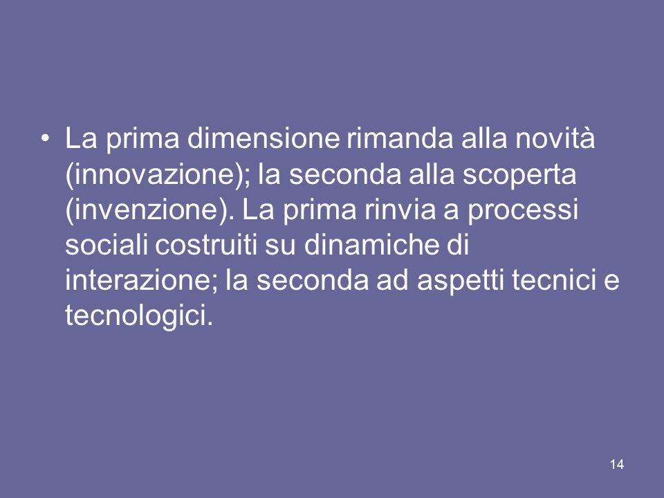 La prima dimensione rimanda alla novità (innovazione); la seconda alla scoperta (invenzione). La prima rinvia a processi sociali costruiti su dinamich