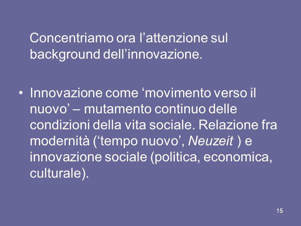 Concentriamo ora l'attenzione sul background dell'innovazione. Innovazione come 'movimento verso il nuovo' – mutamento continuo delle condizioni della