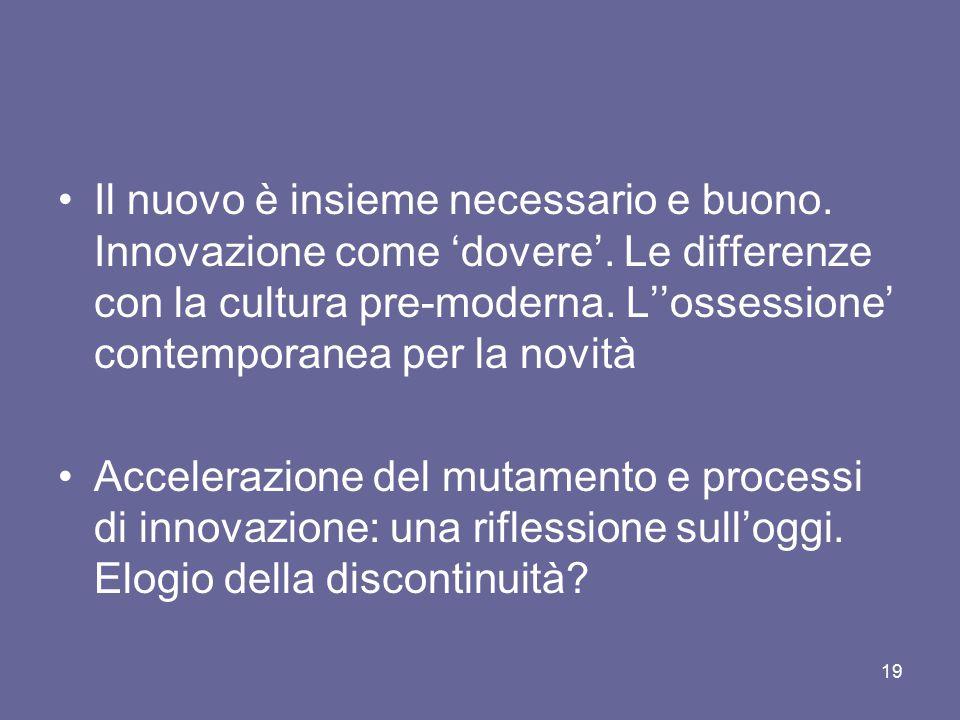 Il nuovo è insieme necessario e buono. Innovazione come 'dovere'. Le differenze con la cultura pre-moderna. L''ossessione' contemporanea per la novità