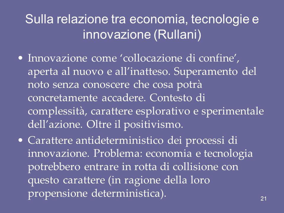 Sulla relazione tra economia, tecnologie e innovazione (Rullani) Innovazione come 'collocazione di confine', aperta al nuovo e all'inatteso. Superamen