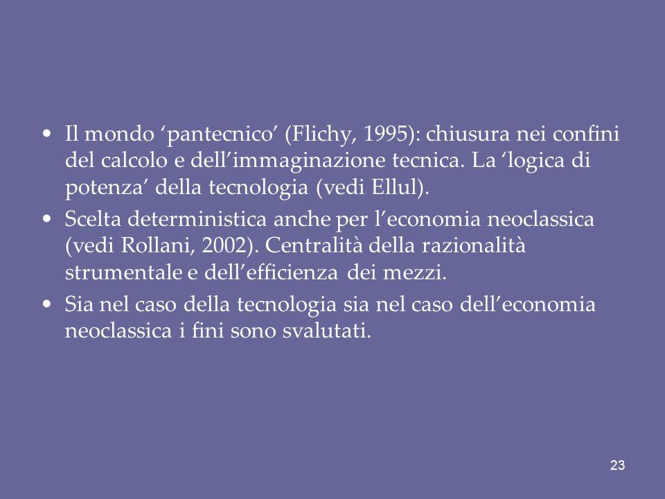 Il mondo 'pantecnico' (Flichy, 1995): chiusura nei confini del calcolo e dell'immaginazione tecnica. La 'logica di potenza' della tecnologia (vedi Ell