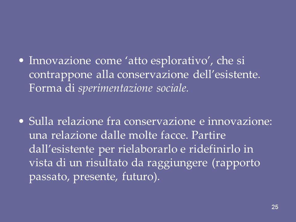 Innovazione come 'atto esplorativo', che si contrappone alla conservazione dell'esistente. Forma di sperimentazione sociale. Sulla relazione fra conse
