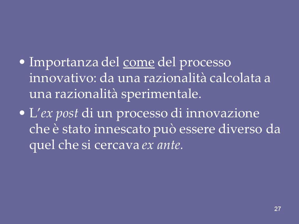Importanza del come del processo innovativo: da una razionalità calcolata a una razionalità sperimentale. L'ex post di un processo di innovazione che