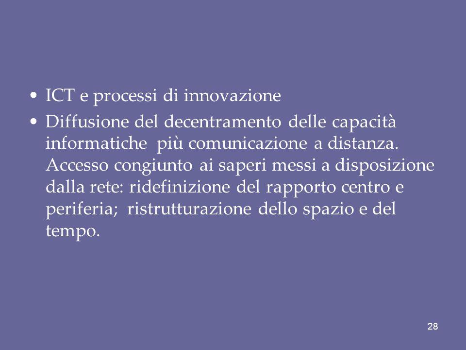 ICT e processi di innovazione Diffusione del decentramento delle capacità informatiche più comunicazione a distanza. Accesso congiunto ai saperi messi