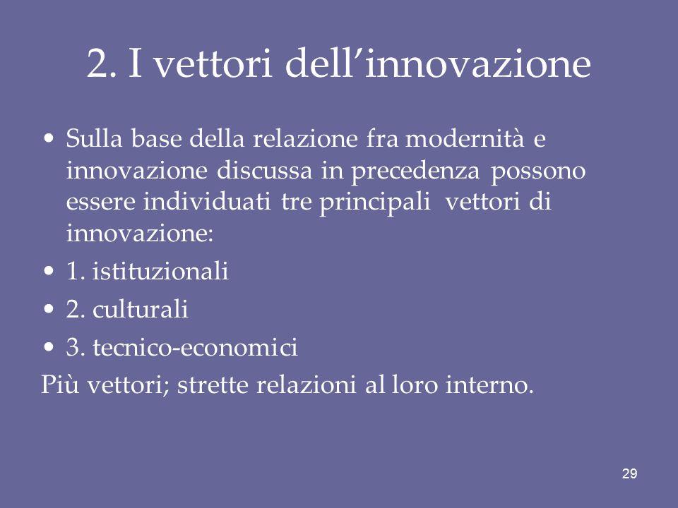 2. I vettori dell'innovazione Sulla base della relazione fra modernità e innovazione discussa in precedenza possono essere individuati tre principali