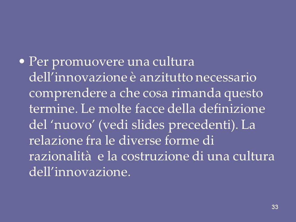 Per promuovere una cultura dell'innovazione è anzitutto necessario comprendere a che cosa rimanda questo termine. Le molte facce della definizione del