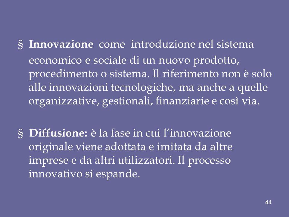 § Innovazione come introduzione nel sistema economico e sociale di un nuovo prodotto, procedimento o sistema. Il riferimento non è solo alle innovazio