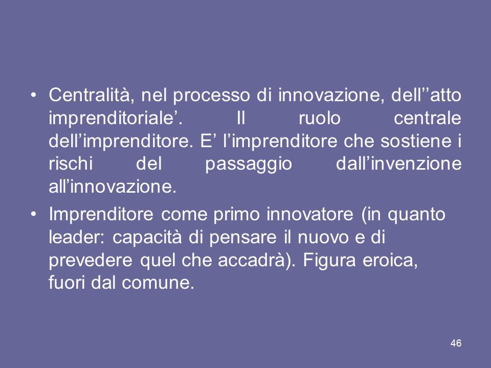 Centralità, nel processo di innovazione, dell''atto imprenditoriale'. Il ruolo centrale dell'imprenditore. E' l'imprenditore che sostiene i rischi del