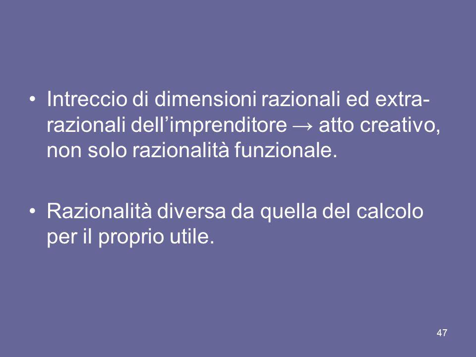 Intreccio di dimensioni razionali ed extra- razionali dell'imprenditore → atto creativo, non solo razionalità funzionale. Razionalità diversa da quell
