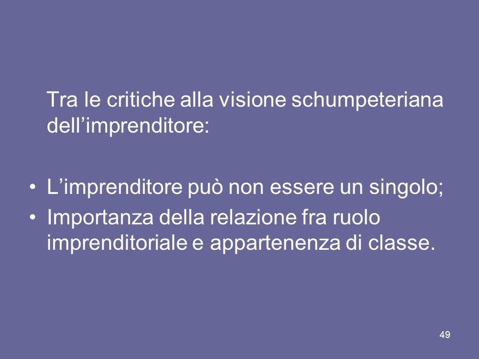 Tra le critiche alla visione schumpeteriana dell'imprenditore: L'imprenditore può non essere un singolo; Importanza della relazione fra ruolo imprendi
