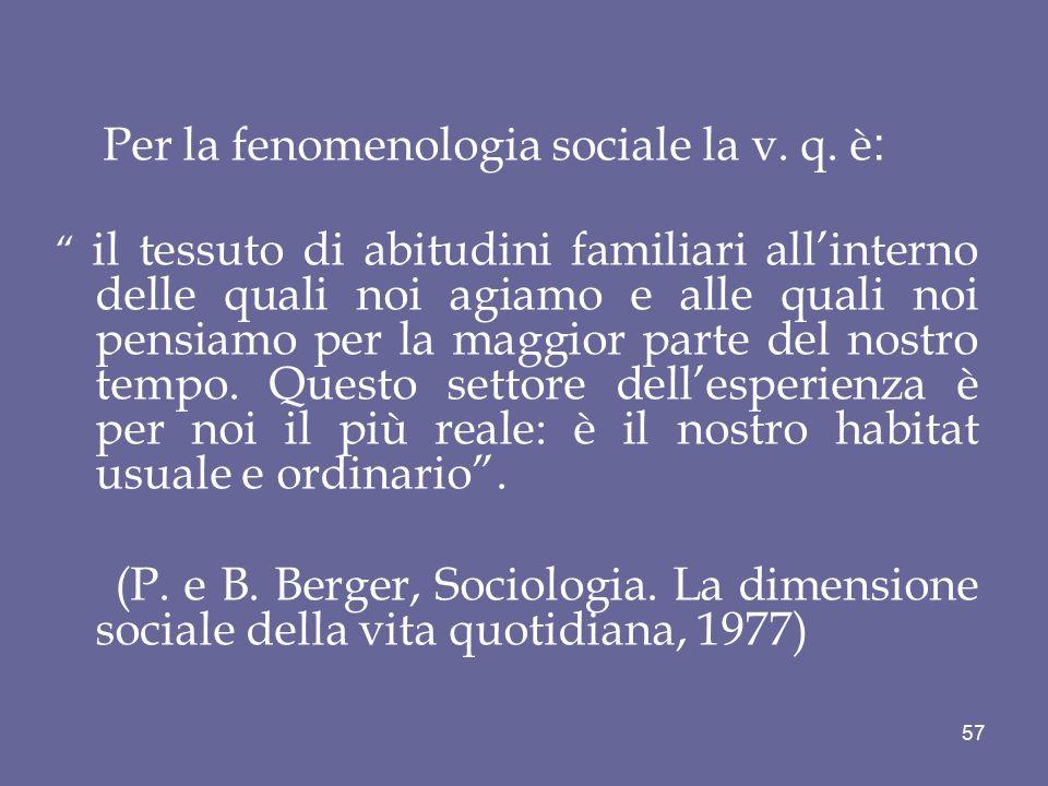 """Per la fenomenologia sociale la v. q. è : """" il tessuto di abitudini familiari all'interno delle quali noi agiamo e alle quali noi pensiamo per la magg"""