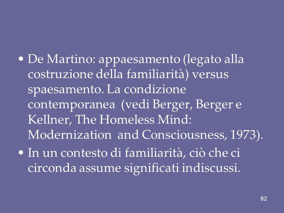 De Martino: appaesamento (legato alla costruzione della familiarità) versus spaesamento. La condizione contemporanea (vedi Berger, Berger e Kellner, T