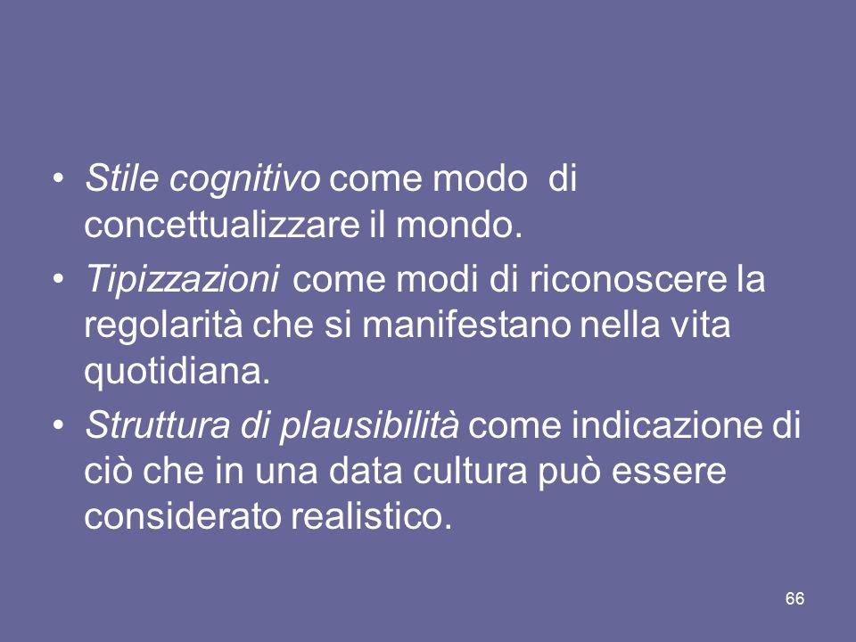 Stile cognitivo come modo di concettualizzare il mondo. Tipizzazioni come modi di riconoscere la regolarità che si manifestano nella vita quotidiana.