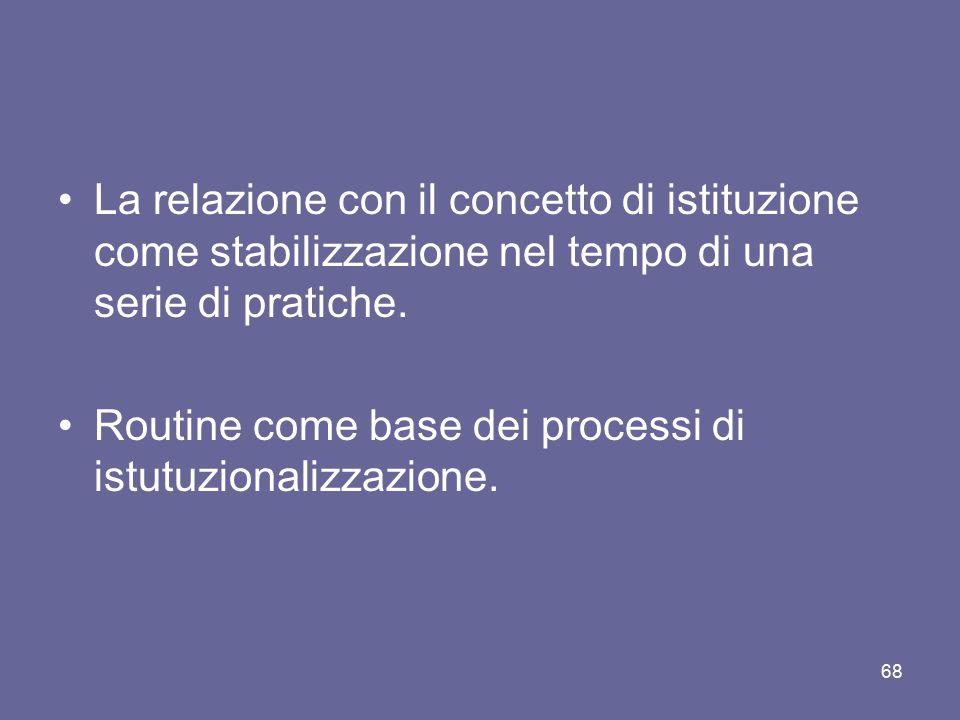 La relazione con il concetto di istituzione come stabilizzazione nel tempo di una serie di pratiche. Routine come base dei processi di istutuzionalizz