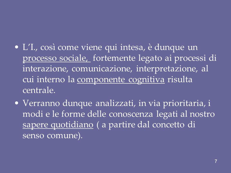 L'I., così come viene qui intesa, è dunque un processo sociale, fortemente legato ai processi di interazione, comunicazione, interpretazione, al cui i