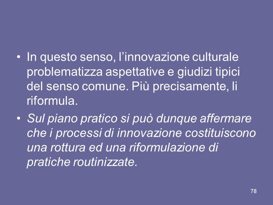 In questo senso, l'innovazione culturale problematizza aspettative e giudizi tipici del senso comune. Più precisamente, li riformula. Sul piano pratic