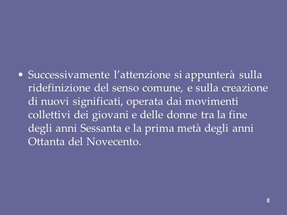 La visione di Melucci (L'invenzione del presente, 1982) Rifiuto delle interpretazione dei movimenti nei termini di marginalità e devianza o, piuttosto, in riferimento alla richiesta di accesso e partecipazione politica alle istituzioni.